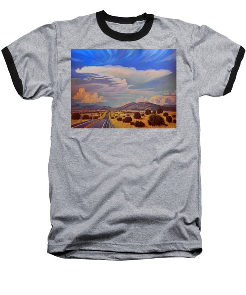 Baseball T-Shirt featuring the painting New Mexico Cloud Patterns by Art James West