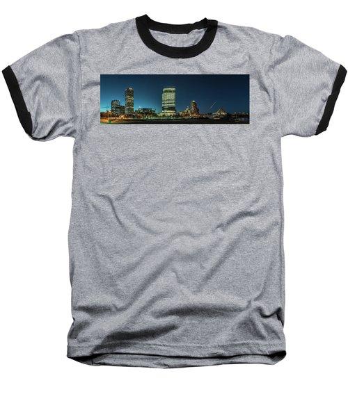 Baseball T-Shirt featuring the photograph New Milwaukee Skyline by Randy Scherkenbach