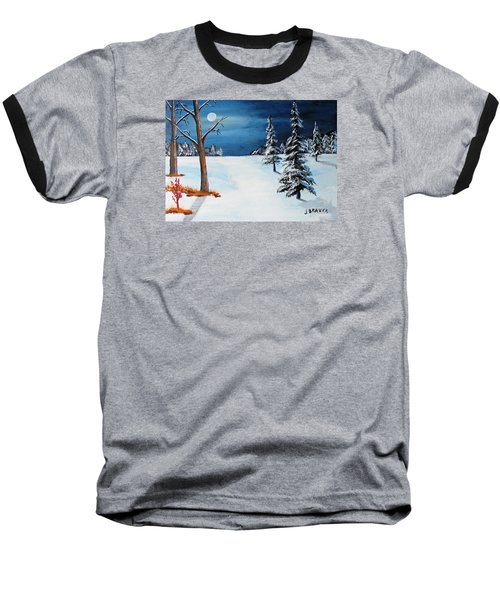 New Moon New Snow Baseball T-Shirt by Jack G Brauer