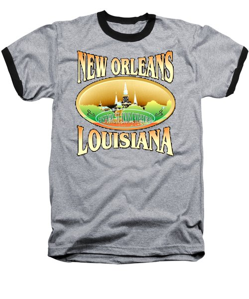 New Orleans Louisiana Tshirt Design Baseball T-Shirt by Art America Gallery Peter Potter