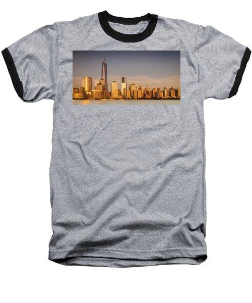 New World Trade Memorial Center And New York City Skyline Panorama Baseball T-Shirt