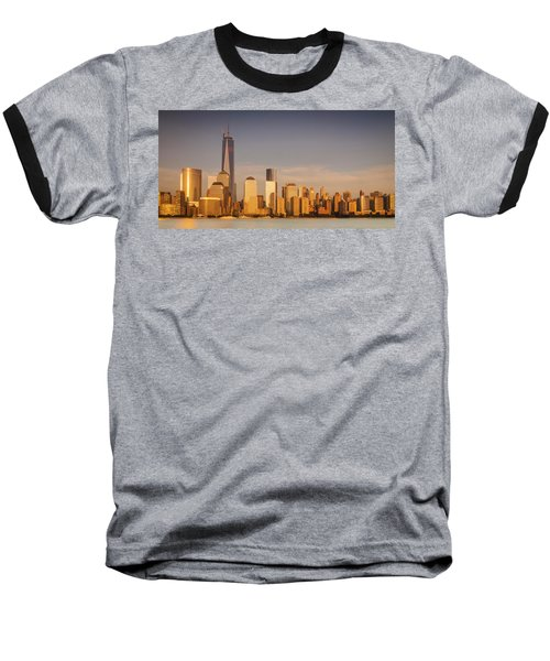 New World Trade Memorial Center And New York City Skyline Panorama Baseball T-Shirt