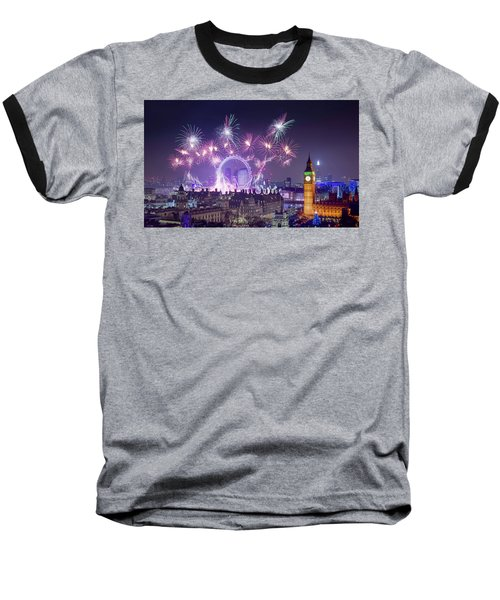 New Year Fireworks London Baseball T-Shirt