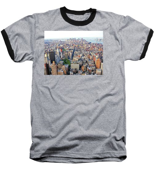 New York Aerial View Baseball T-Shirt