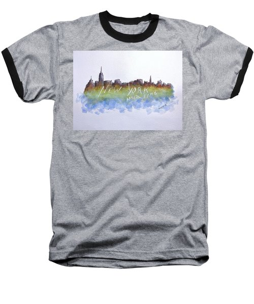 Baseball T-Shirt featuring the painting New York After Time by Edwin Alverio