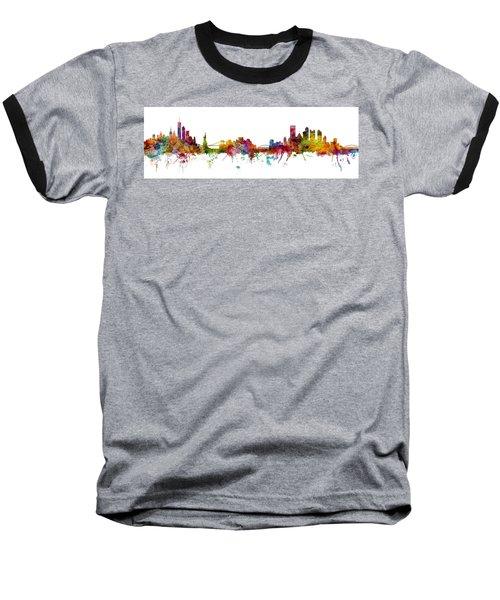 New York And Pittsburgh Skyline Mashup Baseball T-Shirt