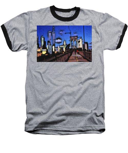 New York Blue - Modern Art Painting Baseball T-Shirt