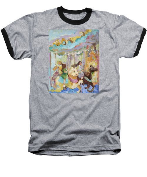 New York Carousel Baseball T-Shirt by Sharon Furner