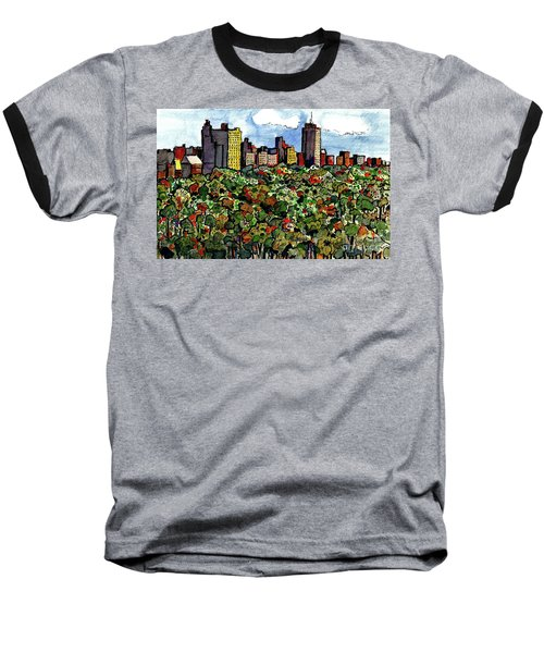 Baseball T-Shirt featuring the painting New York Central Park by Terry Banderas