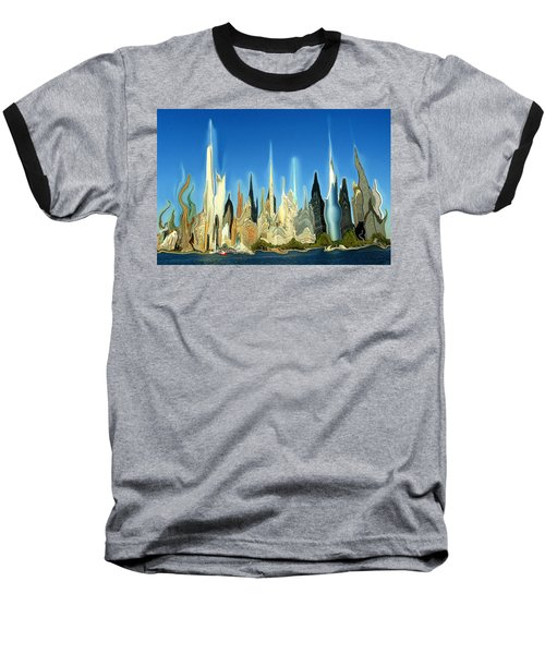 New York City Skyline 2100 - Modern Artwork Baseball T-Shirt