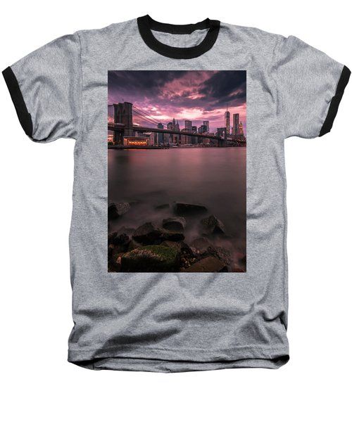 Baseball T-Shirt featuring the photograph New York City Brooklyn Bridge Sunset by Ranjay Mitra