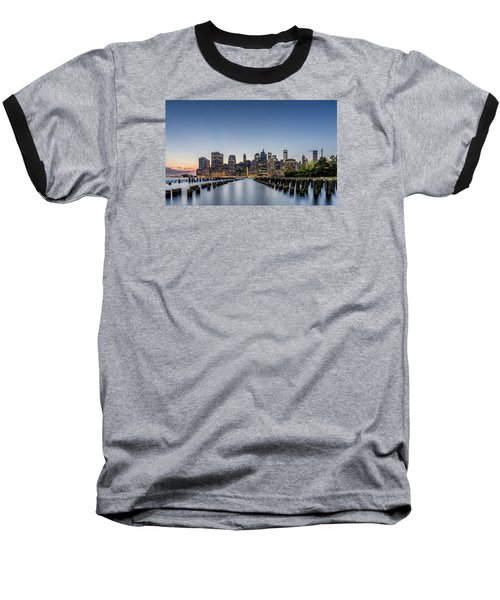 New York City Dusk Baseball T-Shirt by Rafael Quirindongo