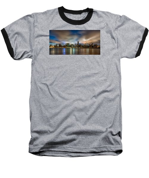 New York City Evening Skyline  Baseball T-Shirt by Rafael Quirindongo