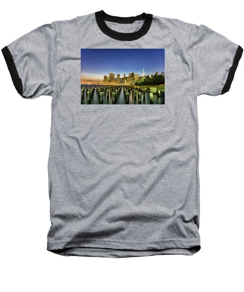 New York City From Brooklyn Baseball T-Shirt by Rafael Quirindongo