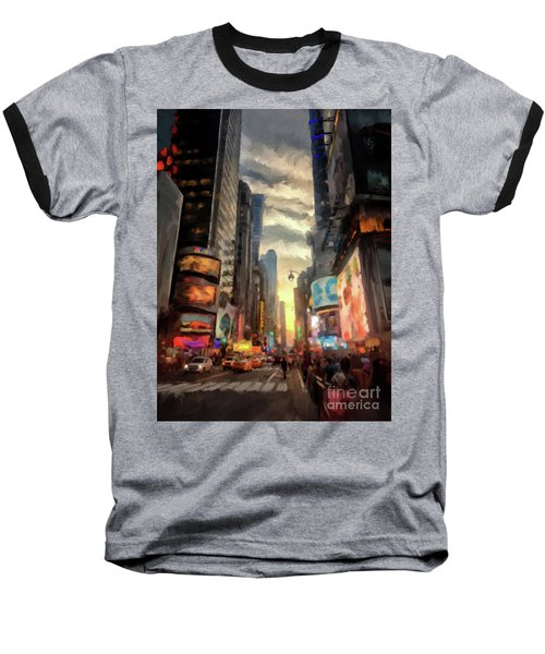 Baseball T-Shirt featuring the photograph New York City Lights by Lois Bryan