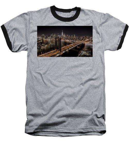 New York City, Manhattan Bridge At Night Baseball T-Shirt
