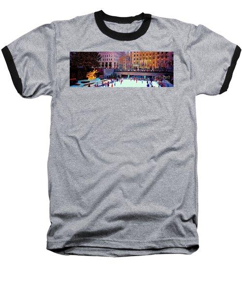 Baseball T-Shirt featuring the photograph  New York City Rockefeller Center Ice Rink  by Tom Jelen