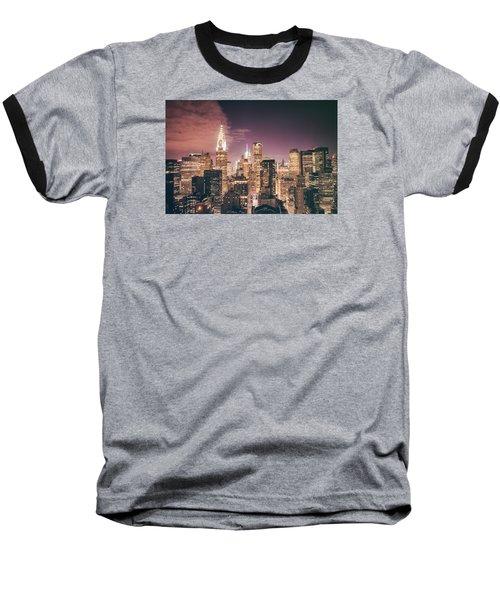 New York City Skyline - Night Baseball T-Shirt