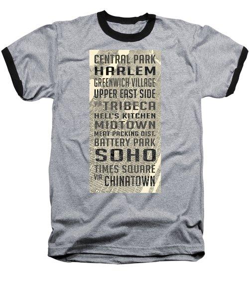 New York City Subway Stops Vintage Map 5 Baseball T-Shirt