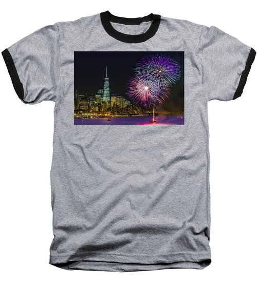 New York City Summer Fireworks Baseball T-Shirt