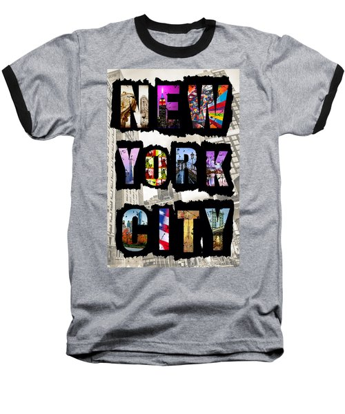 New York City Text Baseball T-Shirt