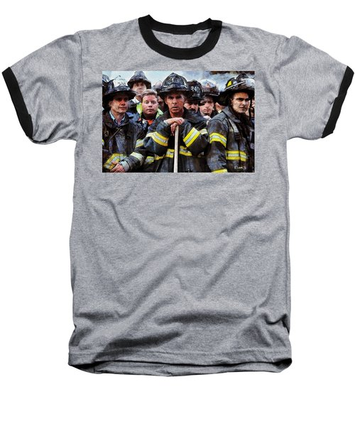 Baseball T-Shirt featuring the painting New York Firefighters After 9/11 by Kai Saarto