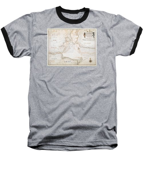New York Harbor Map 1700 Baseball T-Shirt