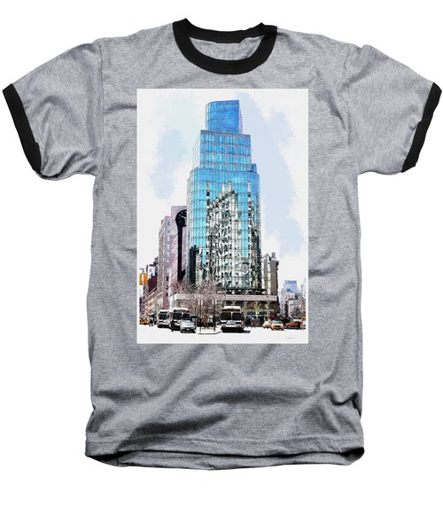 New York In Reflection Baseball T-Shirt by Kai Saarto