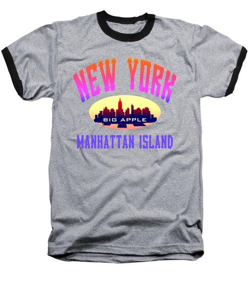 New York Manhattan Island Design Baseball T-Shirt