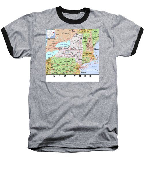 New York Map Baseball T-Shirt