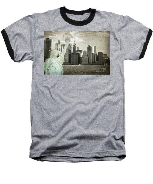 New York New York Da Baseball T-Shirt by Judy Wolinsky