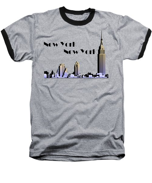 New York New York Skyline Retro 1930s Style Baseball T-Shirt by Heidi De Leeuw
