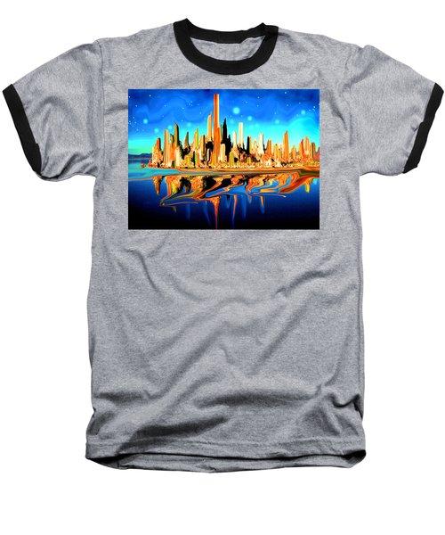 New York Skyline In Blue Orange - Modern Fantasy Art Baseball T-Shirt