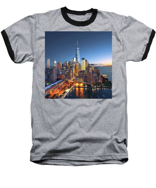 New York Skyline Sunset Baseball T-Shirt