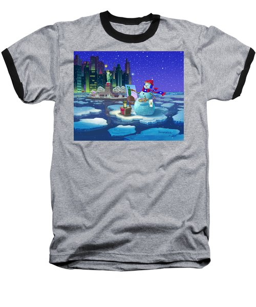 Baseball T-Shirt featuring the painting New York Snowman by Michael Humphries