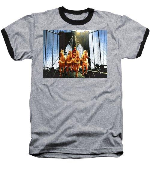 New York Brooklyn Bridge Fantasy Collage Baseball T-Shirt