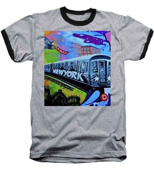 New York Train Baseball T-Shirt by Joan Reese