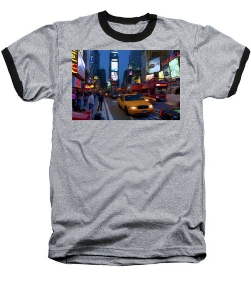 Baseball T-Shirt featuring the painting New York Yellow Cab by David Dehner