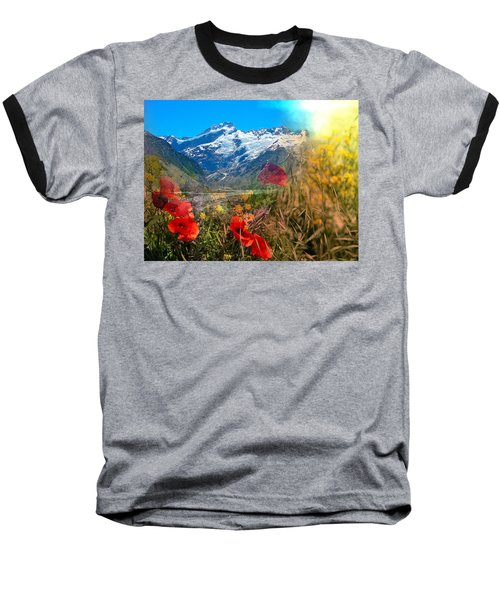 New Zealand Southern Alps Montage Baseball T-Shirt