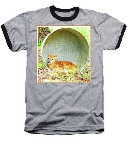 Newborn Fawn Finds Shelter In An Old Washtub Baseball T-Shirt by A Gurmankin