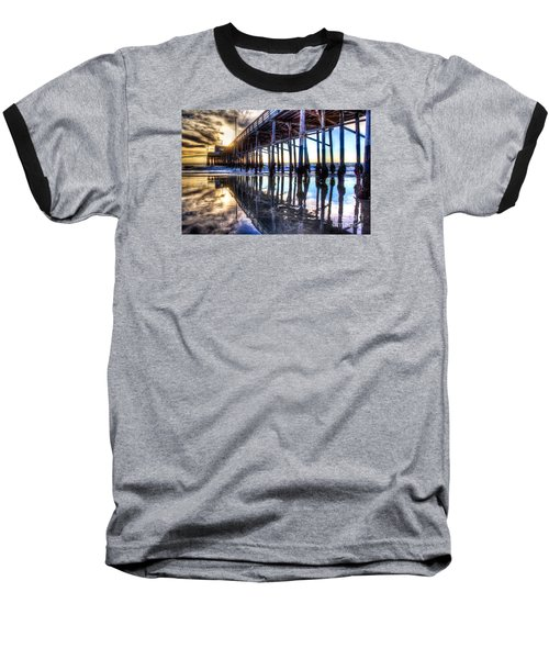 Newport Beach Pier - Reflections Baseball T-Shirt