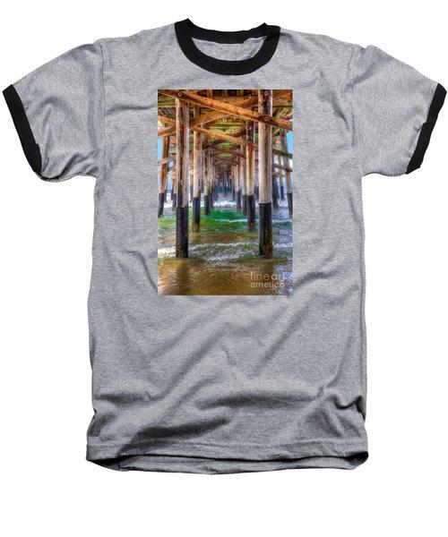 Newport Beach Pier - Summertime Baseball T-Shirt by Jim Carrell