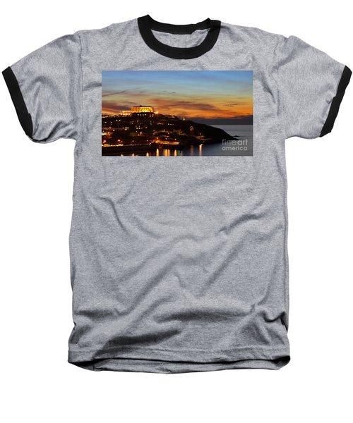 Newquay Harbor At Night Baseball T-Shirt