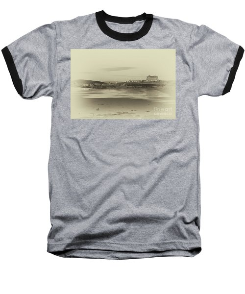 Baseball T-Shirt featuring the photograph Newquay With Old Watercolor Effect  by Nicholas Burningham