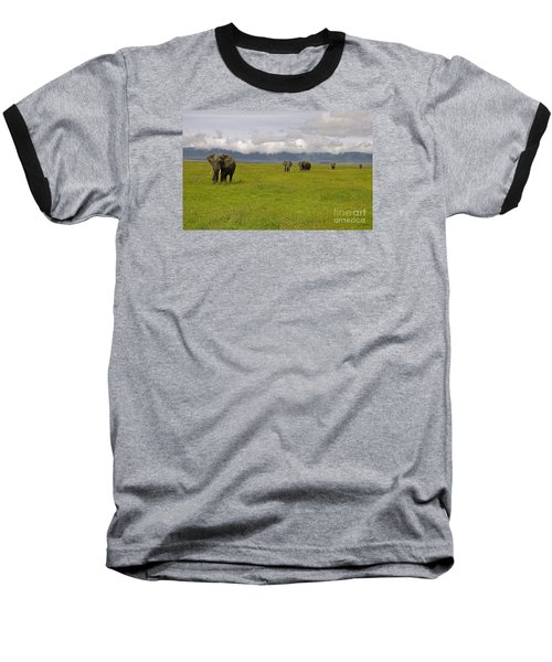 Baseball T-Shirt featuring the photograph Ngorongoro Elephants-signed-#0135 by J L Woody Wooden