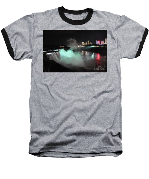 Niagara Night Lights Baseball T-Shirt by Gina Savage