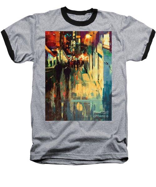 Night Alleyway Baseball T-Shirt