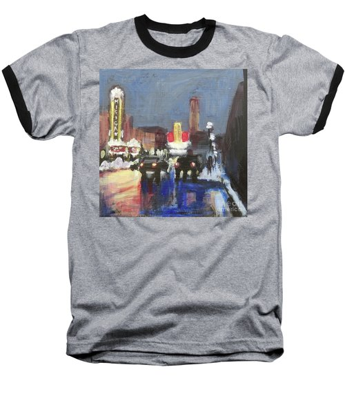 Night Around Michigan Theater Baseball T-Shirt by Yoshiko Mishina