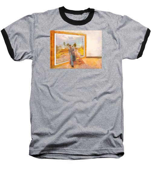 Baseball T-Shirt featuring the painting Night At The Art Gallery - Railway To Freedom by Wayne Pascall