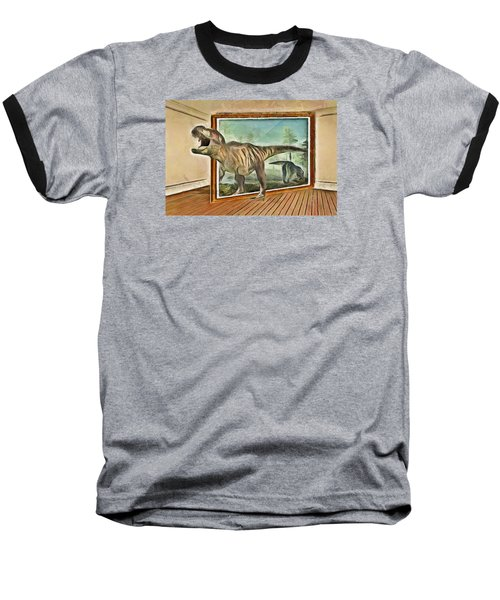 Baseball T-Shirt featuring the painting Night At The Art Gallery - T Rex Escapes by Wayne Pascall